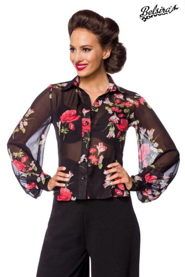 50207 021 XXX 00 600x900 - Vintage bluza dolg rokav cvetlični vzorec AX-50207