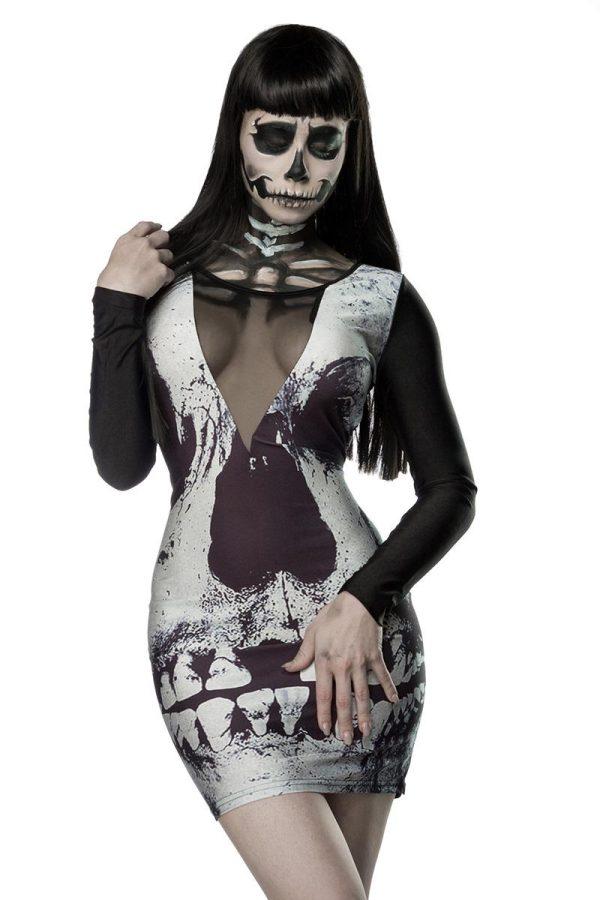 14350 023 XXX 00 600x900 - Obleka tisk sklelet Skull Minidress AX-14350