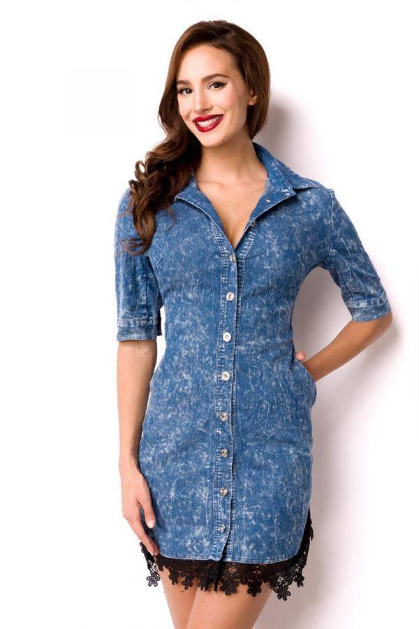 15003 015 XXX 00 600x900 - Jeans dolga srajčna obleka  AX-15003